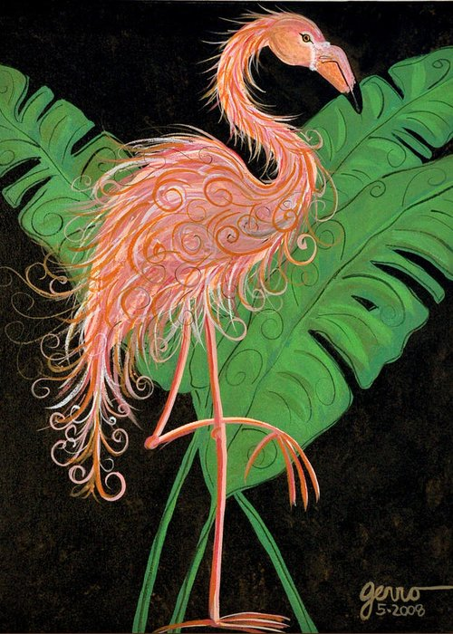 Flamingo Artwork Greeting Card featuring the painting Flamingo Art Deco by Helen Gerro