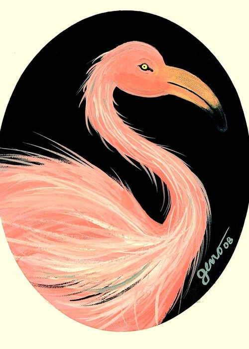 Flamingo Greeting Card featuring the painting Flamingo Deco by Helen Gerro