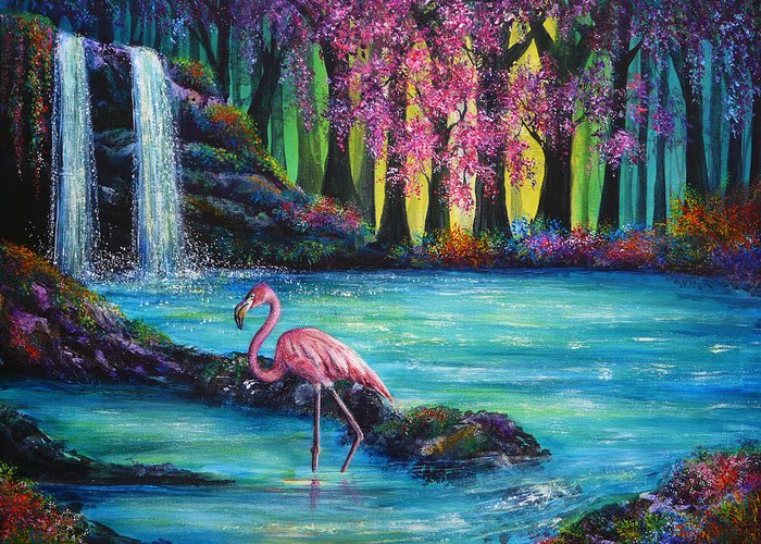 Hand Painted Greeting Card featuring the painting Flamingo Falls by Ann Marie Bone