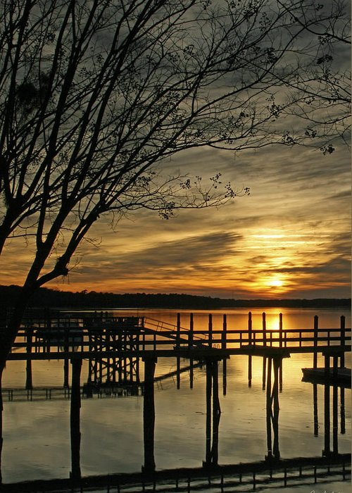 Sunset Greeting Card featuring the photograph Flat Water by Phill Doherty