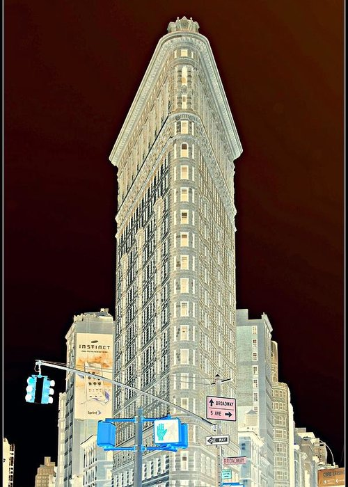 'new York City' Greeting Card featuring the photograph Flatiron Building Inverted by Randy Aveille