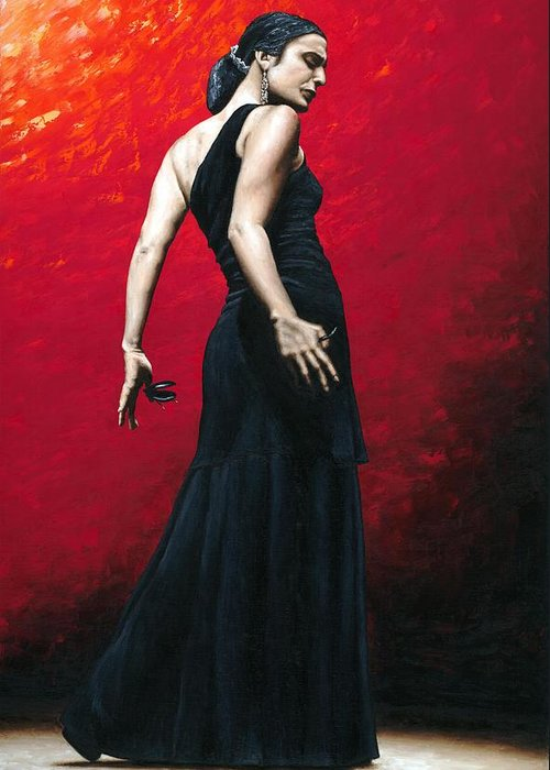 Dance Greeting Card featuring the painting Flemenco Arrogancia by Richard Young