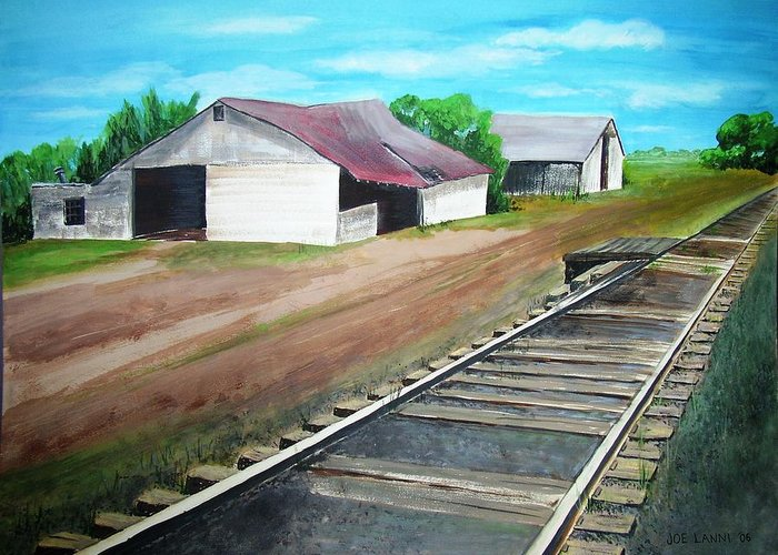 Landscape Greeting Card featuring the painting Flemington R.r. by Joe Lanni