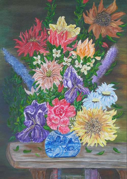 Floral Greeting Card featuring the painting Flemish Floral by Mikki Alhart
