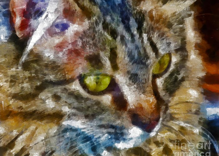 Kittens Greeting Card featuring the digital art Fletcher Kitty by Marilyn Sholin