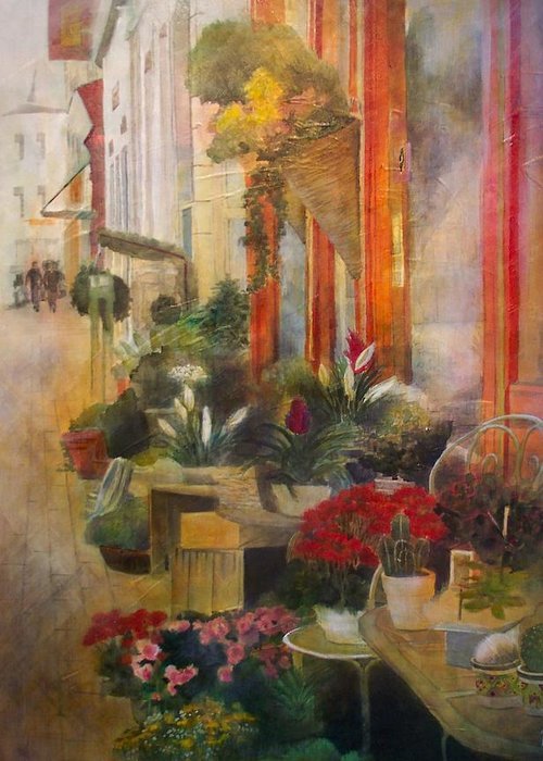 Flowers Greeting Card featuring the painting Fleuriste by Victoria Heryet