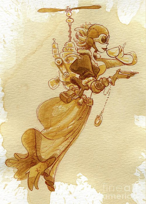 Steampunk Greeting Card featuring the painting Flight by Brian Kesinger