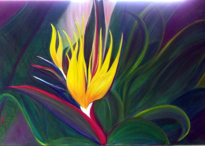 Bird Of Paradise Greeting Card featuring the painting Bird Of Paradise by Dina Holland