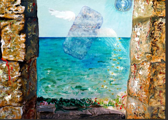 Seascape Greeting Card featuring the painting Flight Of A Soul by Aymeric NOA