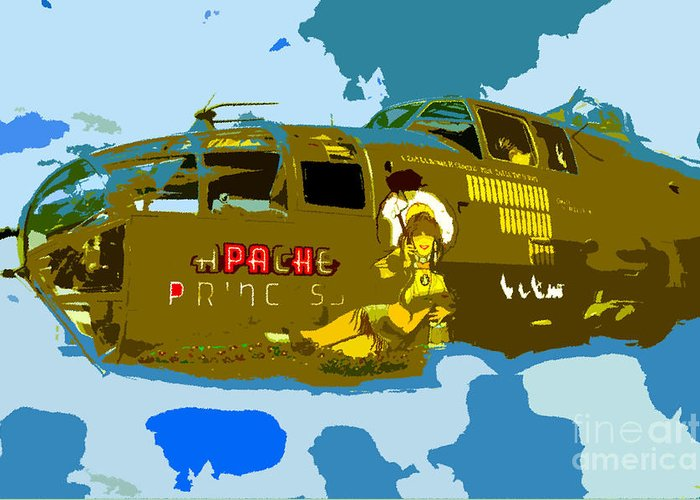 Bomber Greeting Card featuring the painting Flight Of The Apache Princess by David Lee Thompson