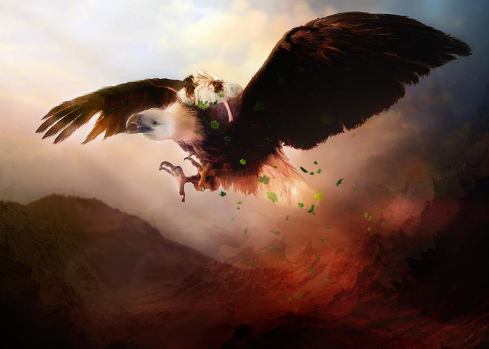 Children Greeting Card featuring the digital art Flight Of The Eagle by Mary Hood