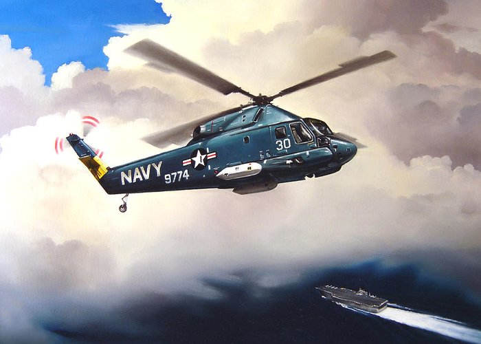 Military Greeting Card featuring the painting Flight Of The Seasprite by Marc Stewart