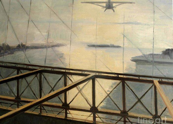 Darius Greeting Card featuring the painting Flight by Raimonda Jatkeviciute-Kasparaviciene