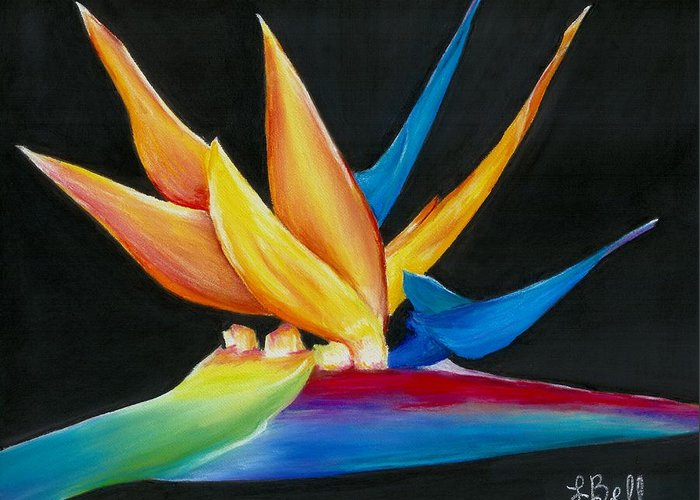 Bird Of Paradise Greeting Card featuring the painting Flight To Paradise by Laura Bell