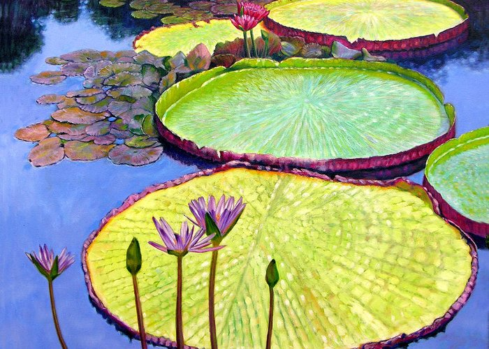 Garden Pond Greeting Card featuring the painting Floating Galaxies by John Lautermilch