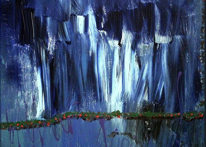 Blue Greeting Card featuring the painting Floating Gardens by Pam Roth O'Mara