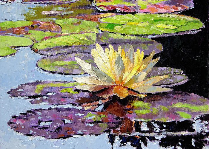Golden Water Lily Greeting Card featuring the painting Floating Gold by John Lautermilch