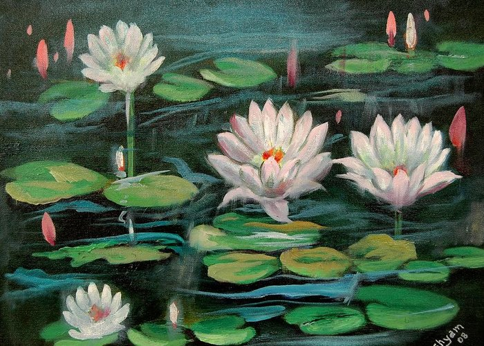 Water Lillies Greeting Card featuring the painting Floating Lillies by Sai Shyamala Ramanand