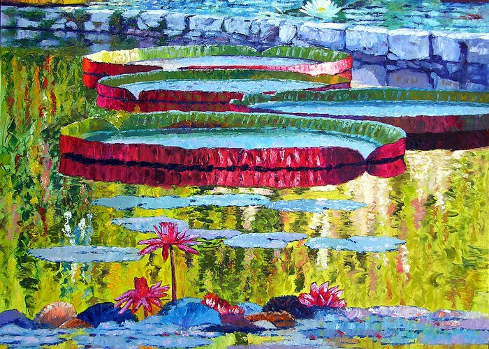 Lily Pond Greeting Card featuring the painting Floating Parallel Universes by John Lautermilch