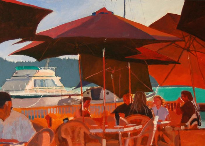 Umbrella Greeting Card featuring the painting Floating Restaurant by Robert Bissett