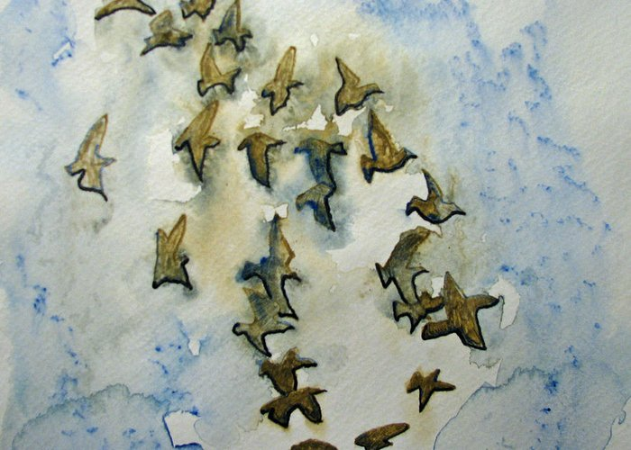 Birds Greeting Card featuring the painting Flocking Birds by Patricia Arroyo