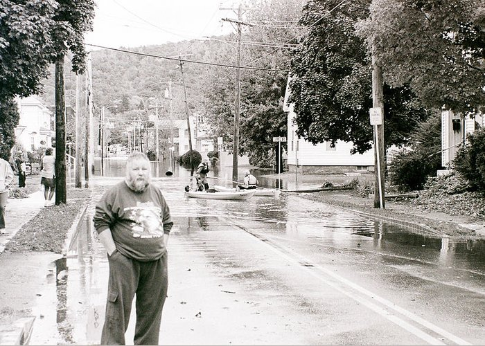 Flood Greeting Card featuring the photograph Flooded Streets Of Despair by Jeff Porter