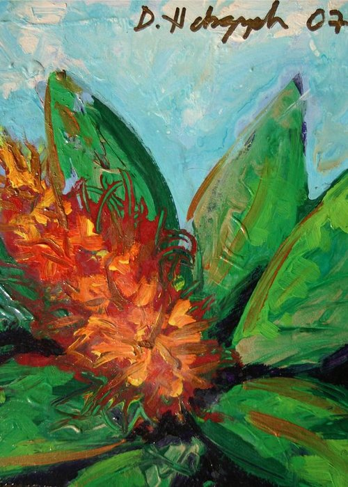 Exotic Greeting Card featuring the painting Flora Exotica B by Dodd Holsapple