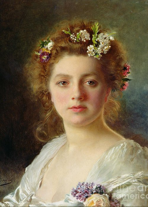 Female; Portrait; Flowers; Flower; Garland; Decollete; Beauty; Young; Rural; Tess; Hair; Regard; Staring; Woman; Gustave Jacquet Greeting Card featuring the painting Flora by Gustave Jacquet