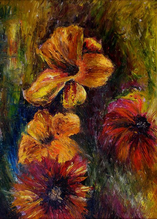 Knife Greeting Card featuring the painting Flora by Lou Ewers