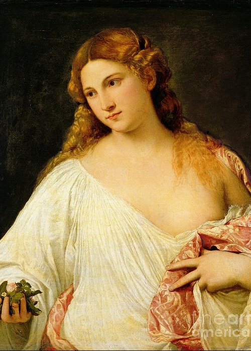 Flora Greeting Card featuring the painting Flora by Titian
