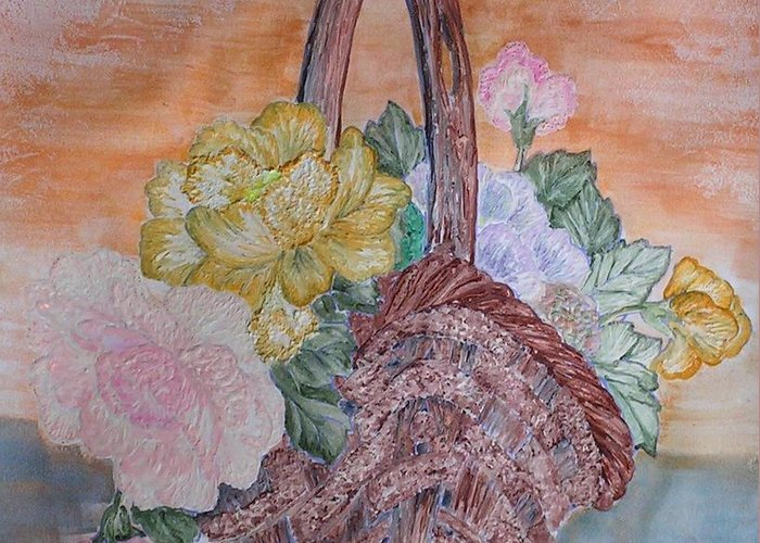Floral Greeting Card featuring the painting Floral Basket by John Vandebrooke