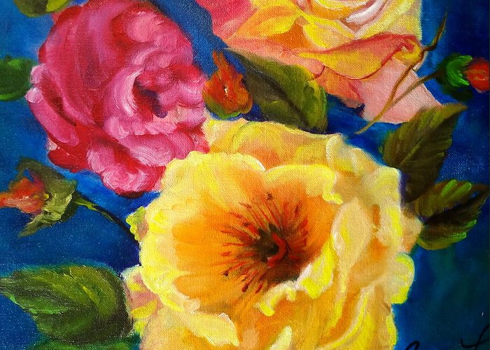 Yellow Flower Greeting Card featuring the painting Floral Fantasy by Jenny Lee