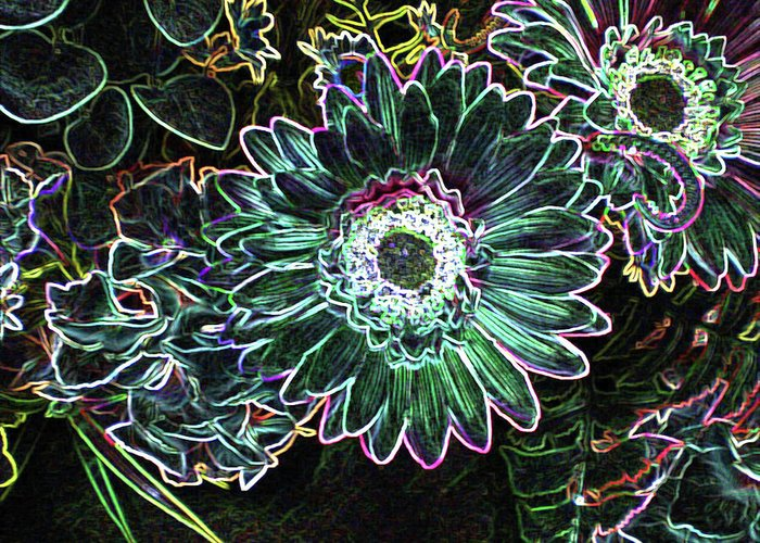 Floral Greeting Card featuring the digital art Floral Fantasy by Marie Loh