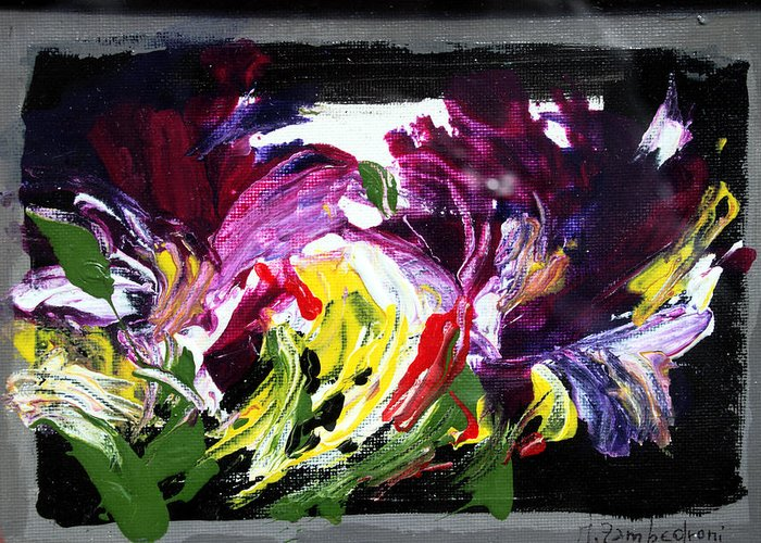 Abstract Greeting Card featuring the painting Floral Flow by Mario Zampedroni