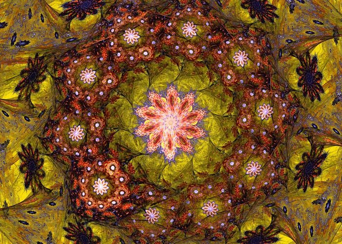 Fantasy Greeting Card featuring the digital art Floral Fractal Wreath by David Lane