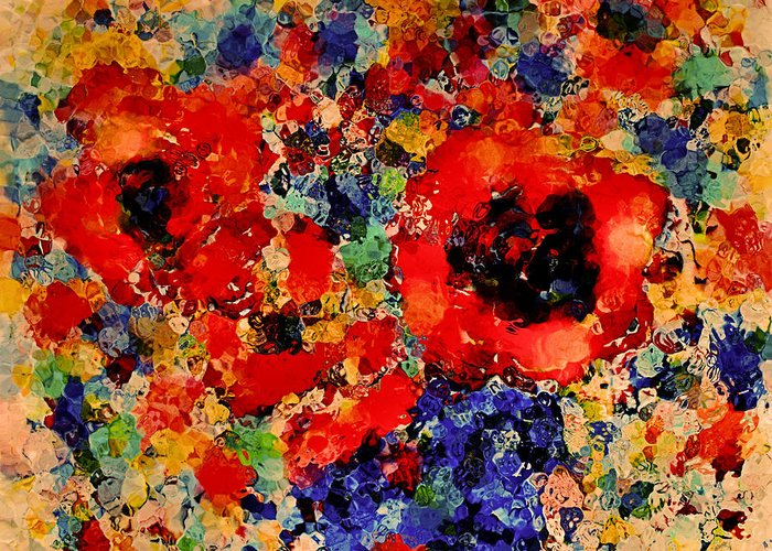 Red Flowers Greeting Card featuring the mixed media Floral Happiness by Natalie Holland