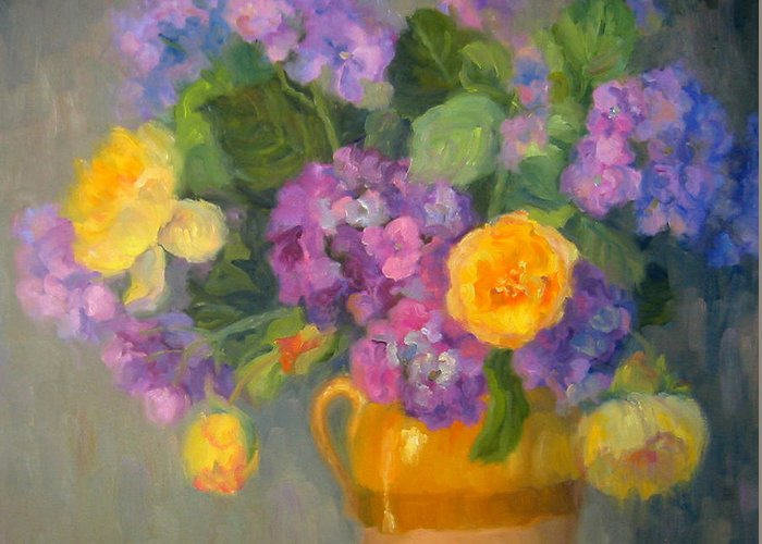 Still Life Greeting Card featuring the painting Floral Melody by Bunny Oliver