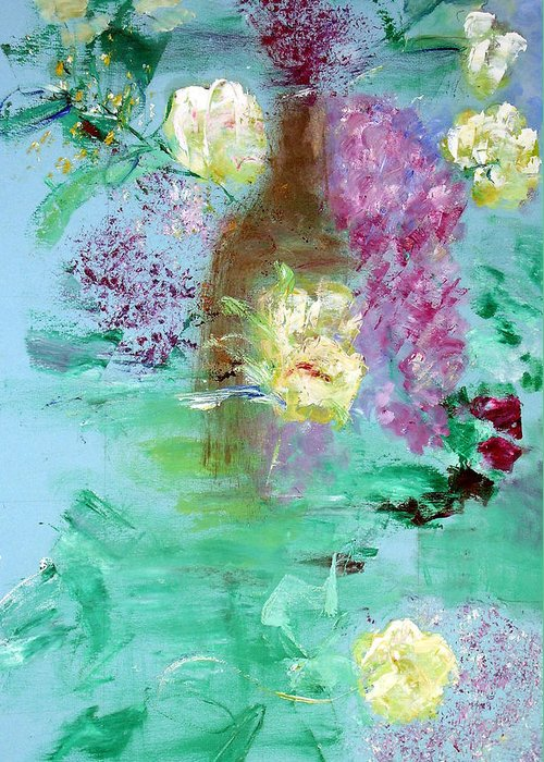 Abstract Greeting Card featuring the painting Floral Reflections by Michela Akers