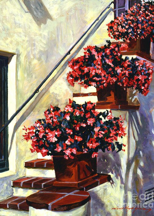 Florals. Flower Pots Greeting Card featuring the painting Floral Staircase by David Lloyd Glover
