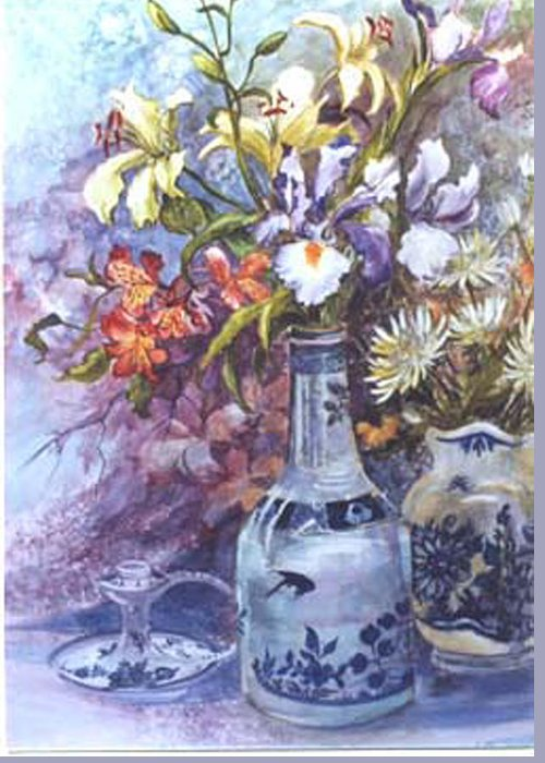 Floral;delft;blue;mauves;still Life;iris Greeting Card featuring the painting Floral With Delft Ware by Lois Mountz
