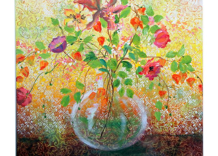 Tapestry Greeting Card featuring the painting Floral With Eastern Tapestry by Lynda McLaughlin