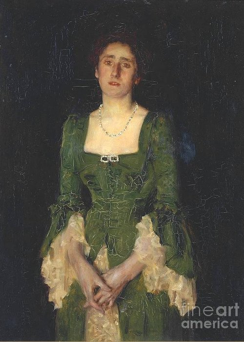 Henry Scott Tuke Greeting Card featuring the painting Florence Humphris by MotionAge Designs
