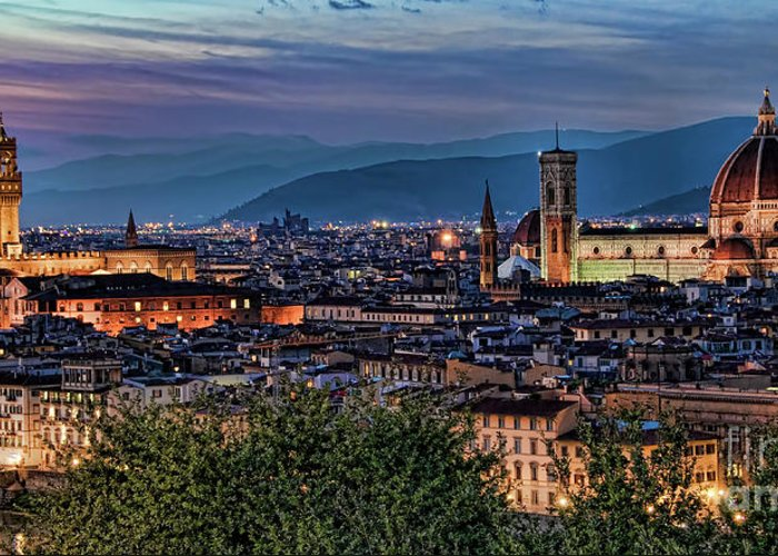 Florence Greeting Card featuring the photograph Florence In The Evening by Nancy Morgantini