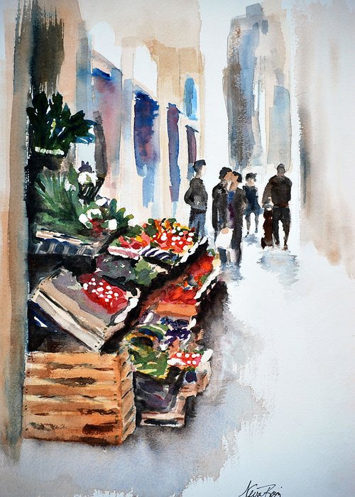 Street Greeting Card featuring the painting Florence Street Market by Neva Rossi