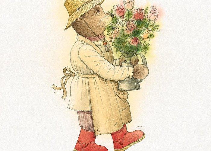 Love Garden Flowers Roses Bears Greeting Card featuring the painting Florentius The Gardener01 by Kestutis Kasparavicius