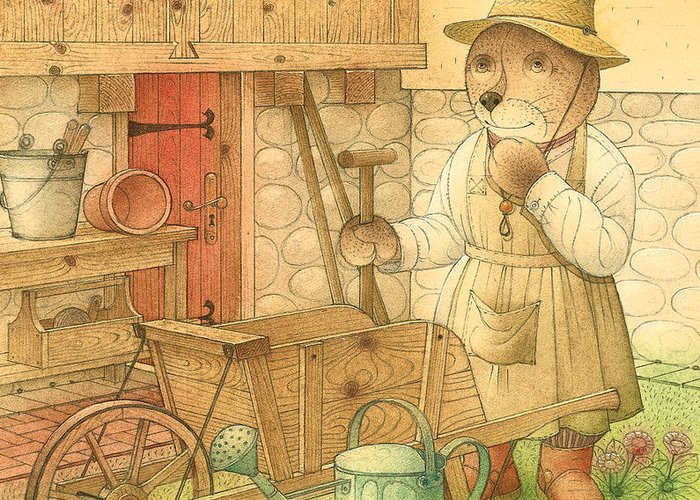 Bear Garden Flowers Greeting Card featuring the painting Florentius The Gardener02 by Kestutis Kasparavicius