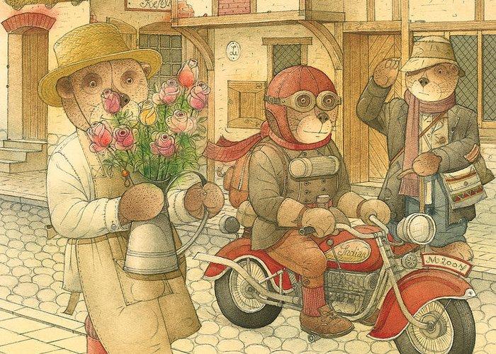 Love Bears Bike Town Flowers Roses Greeting Card featuring the painting Florentius The Gardener06 by Kestutis Kasparavicius