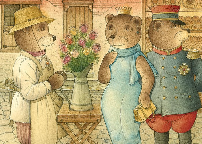 Bears Love Queen Flowers Roses Flirt Greeting Card featuring the painting Florentius The Gardener09 by Kestutis Kasparavicius