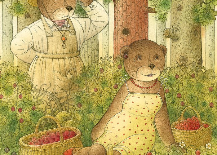 Bears Forest Love Flirt Berry Glamour Greeting Card featuring the painting Florentius The Gardener12 by Kestutis Kasparavicius