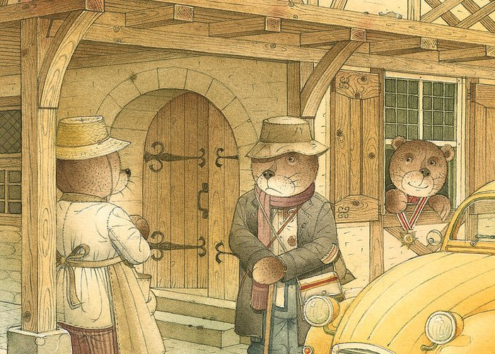 Bears Town Brown Greeting Card featuring the painting Florentius The Gardener15 by Kestutis Kasparavicius